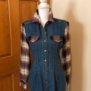 Juniors denim and flannel dress